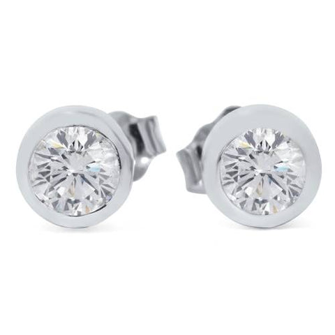 1/2ct Bezel Set Diamond Studs Earrings 14K White Gold