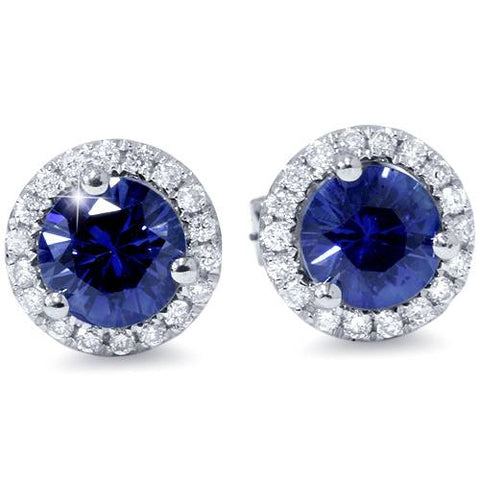 1 Carat Simulated Blue Sapphire Real Diamond Halo Studs Earrings 18K White Gold