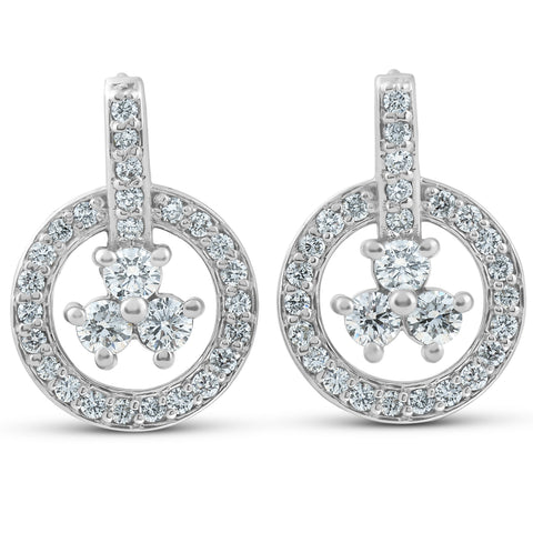 1ct Diamond Circle Three Stone Drop Dangle Earrings 14k White Gold