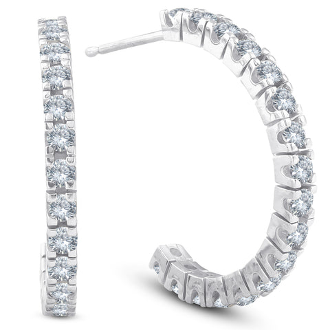 1 cttw Diamond Hoops With Push Back 14K White Gold 20mm Tall