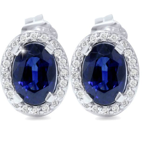 2 1/4ct Blue Sapphire Diamond Halo Studs 14K White Gold