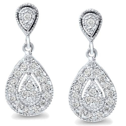 1/2 ct Pear Shape Dangle Diamond Earrings 10 Karat White Gold