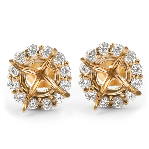 1/2ct Diamond Halo Studs Mounts 14k Yellow Gold Fits 6MM Round Stones Mounting