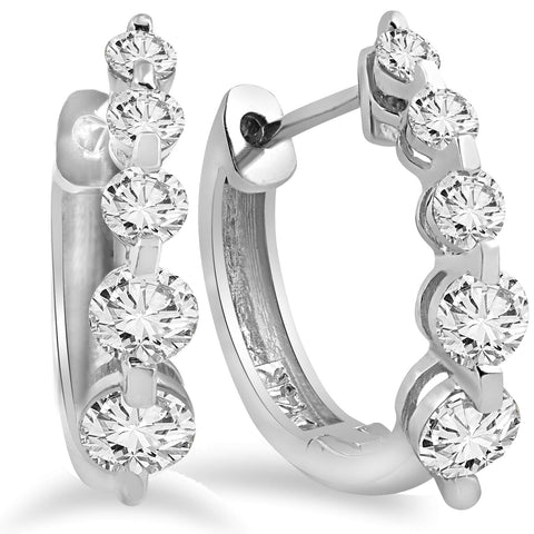 1ct Diamond Hoops Womens Earrings 14K White Gold