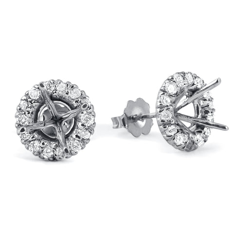 SI 5/8ct Diamond Halo Studs Mounting Fits 5.5-6.5mm Round Stones 14k White Gold