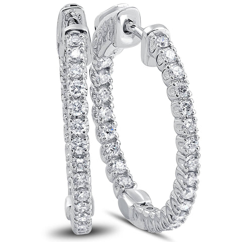 VS/G 1.25 Ct Diamond Oval Shape Inside Outside Hoops Earrings 14k White Gold 1""