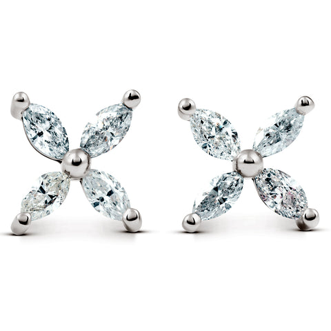 G/SI .65ct Diamond Eight-Stone Marquise Studs 14K White Gold Womens Earrings
