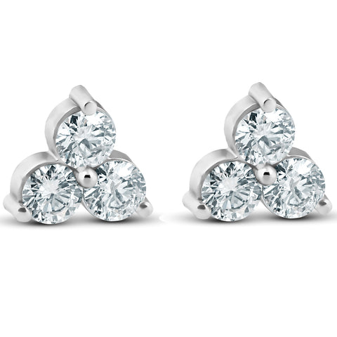 1ct Three Stone Diamond Studs 14K White Gold