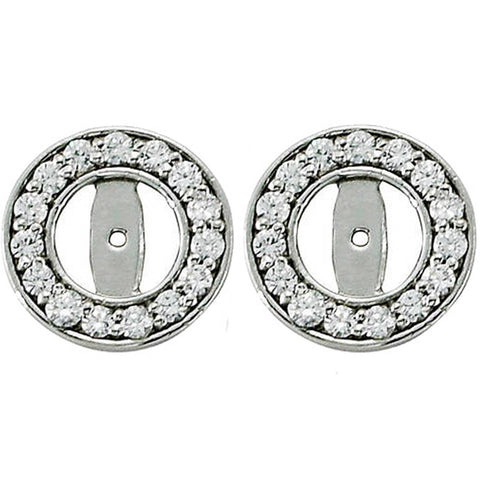 1/2ct Halo Round Diamond Studs Earring Jackets 14K White Gold Fit 1/4T (3.5-4mm)