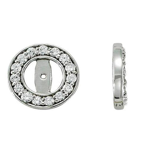 1/2ct Halo Round Diamond Studs Earring Jackets 14K White Gold