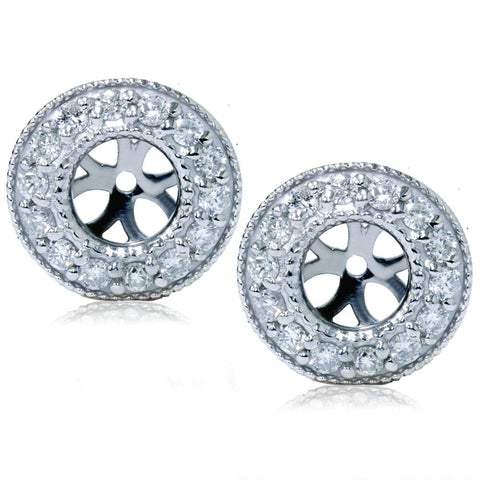 1/2ct Halo Diamond Earring Jackets 14K White Gold (2-5mm)