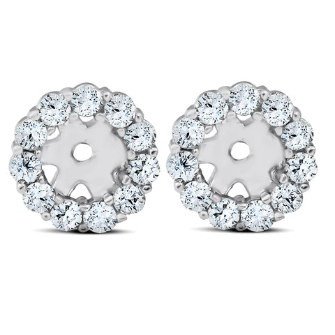 3/8ct Halo Diamond Earring Jackets 14K White Gold Fits 1/4ct Stones (4mm)
