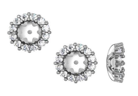 1/2ct Halo Diamond Earring Jackets 14K White Gold Fits 1/2ct Stones (5-5.5mm)