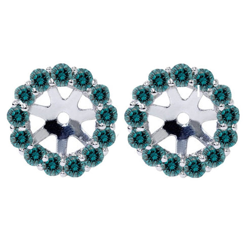 Women's 3/4ct Halo Blue Diamond Earring Jackets 14K White Gold Fits 4.5-6mm