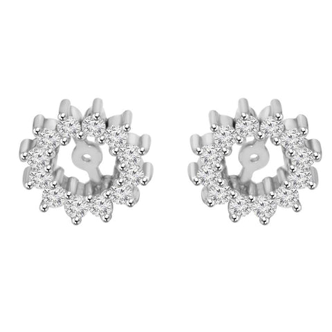 1/2ct Diamond Earrings Jackets 14K White Gold Fits 5-5.5mm Round Suds