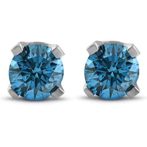 3/8ct Blue Diamond Studs 14K White Gold