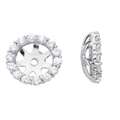 3/4ct Diamond Halo Earring Studs Jackets 14K White Gold Fits 1ct (6-6.7mm)
