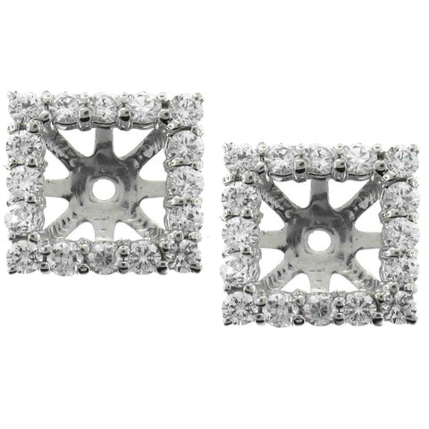 1 1/4ct Princess Cut Diamond Halo Earring Jackets Studs White Gold Fits 5.5-6mm