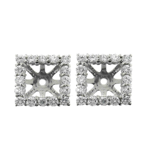 1 1/4ct Princess Cut Diamond Halo Earring Jackets Studs 14K White Gold