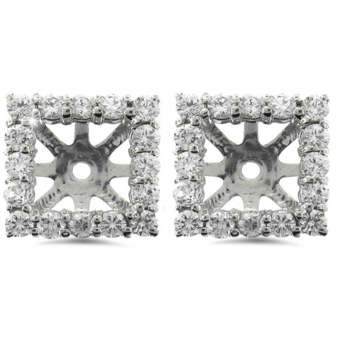 1 1/4ct Princess Cut Diamond Halo Earring Jackets White Gold (5.5-6mm)