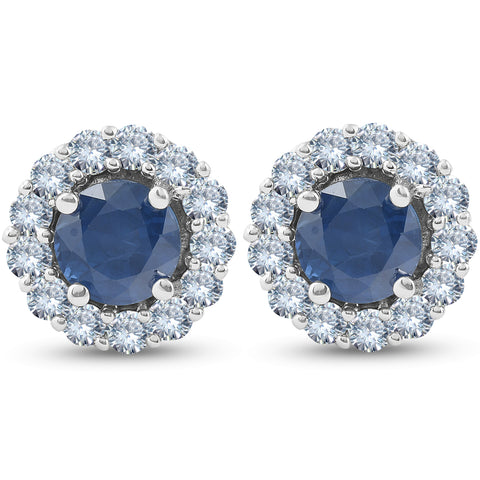 2 1/5 Ct Halo Diamond & Blue Sapphire Studs 14k White Gold