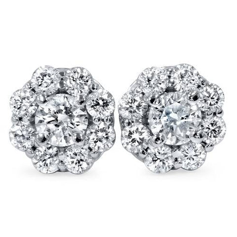Women's 1 1/2ct Halo Fire Diamond Studs 14K White Gold