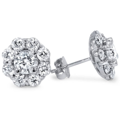 1 1/2ct Diamond Halo Studs 14K White Gold