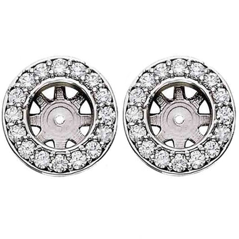 3/4ct Diamond Earring Studs Halo Jackets 14K  (5.5-6mm)