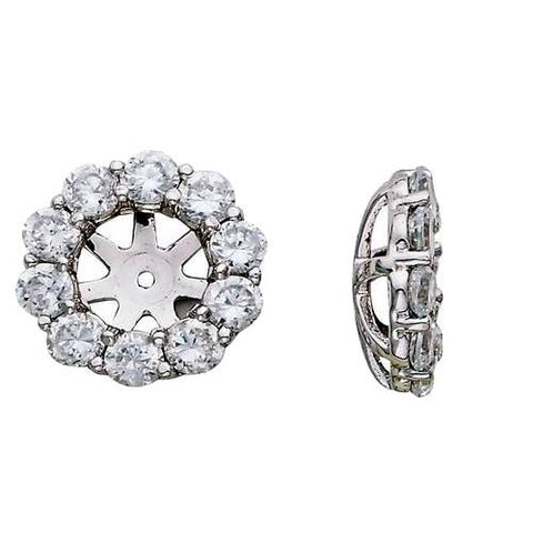 1 1/2ct Diamond Halo Earring Studs Jackets White Gold Fits 1ct Stones (6-6.7mm)