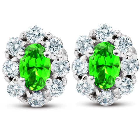 3 Ct Peridot & Diamond Halo Studs 14k White Gold