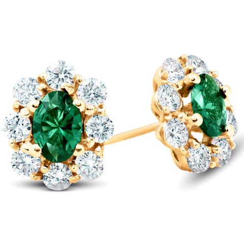 3 Ct Emerald & Diamond Halo Studs 14k Yellow Gold