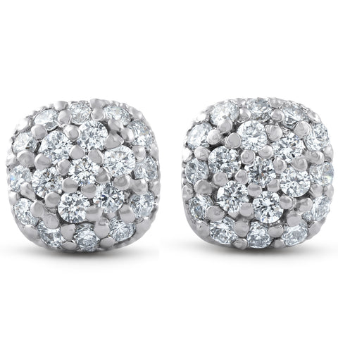 1/2ct Pave Diamond Cushion Studs 14k White Gold