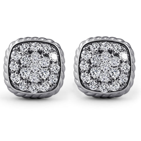 1ct Pave Diamond Cushion Shape Studs Braided Border Earrings 14k White Gold