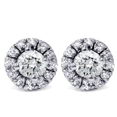 5/8ct Pave Halo Diamond Studs 14K White Gold