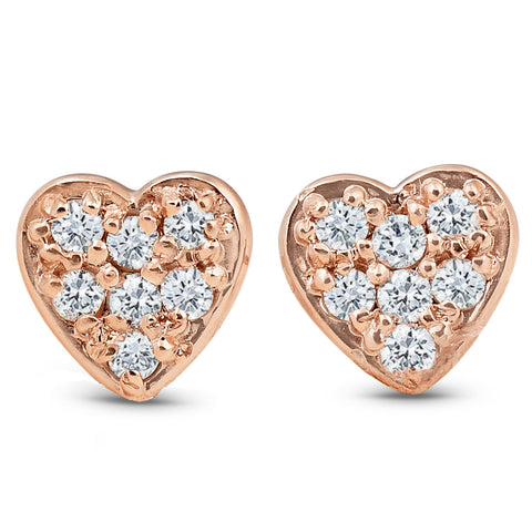 14K Rose Gold Diamond Pave Petite Heart Studs Dainty High Polished 5.7MM