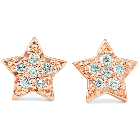 14K Rose Gold Diamond Pave Petite Star Studs Dainty High Polished 6.5MM