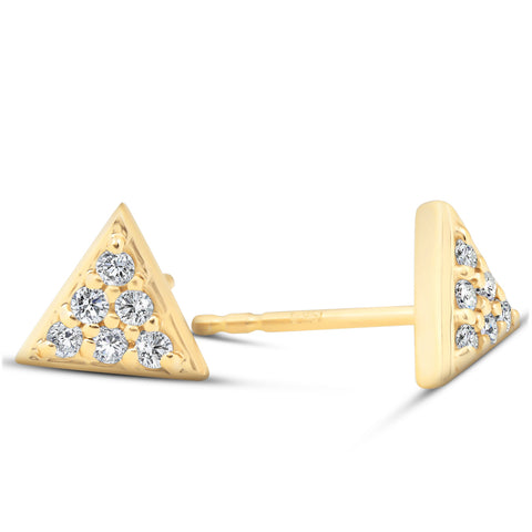 14k Yellow Gold Triangle Pave .12Ct Diamond Delicate Spike Studs Womens Earrings