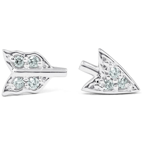 14k White Gold Arrow Diamond Studs Womens Dainty Fashion Earrings