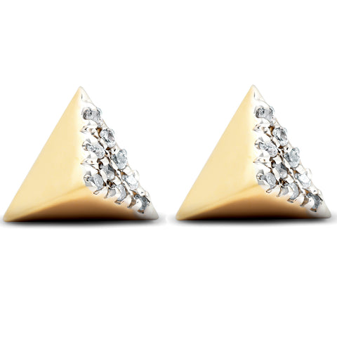 14k Yellow Gold Diamond Cube Studs Pave Spike Triangle Womens Earrings 7MM