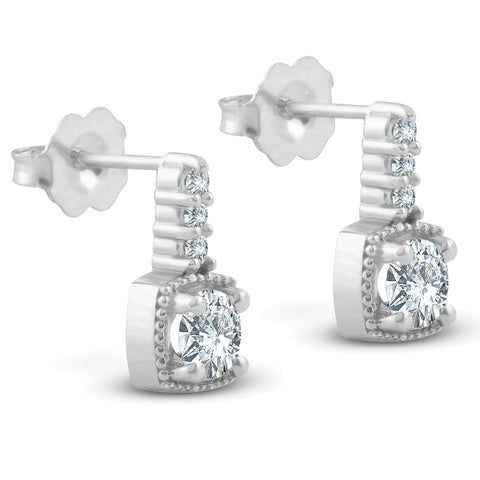 3/4ct Diamond Cushion Framed Drop Earrings 14k White Gold