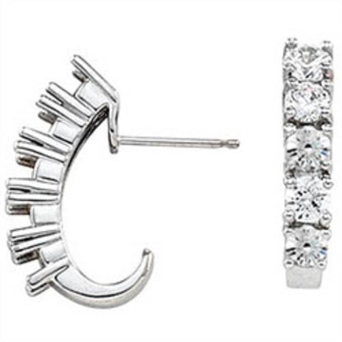 1 3/4ct Diamond Hoops 14K White Gold