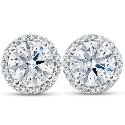 Huge 2 1/5 Ct Diamond Halo Studs H/SI White Gold Enhanced