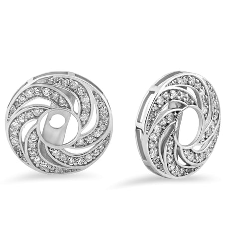 Women's 1/2ct Diamond Earring Halo Jackets Solid 14k White Gold (up to 4mm)