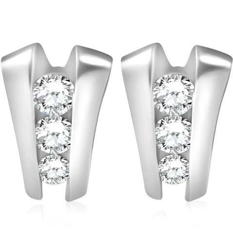 1 .40Ct 3 Stone Diamond Earrings 14K White Gold Past Present Future 16mm Tall