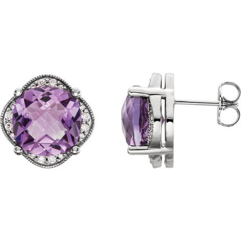 Large Amethyst & Diamond Vintage 4.25Ct Halo Studs Women's Earrings White Gold