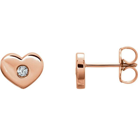 14K Rose Gold Diamond Solitaire Heart Studs Dainty High Polished 7mm