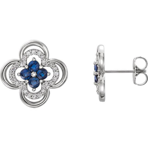 Genuine Blue Sapphire & Diamond .70 Ct Clover Studs Earrings 14K White Gold 1/2""