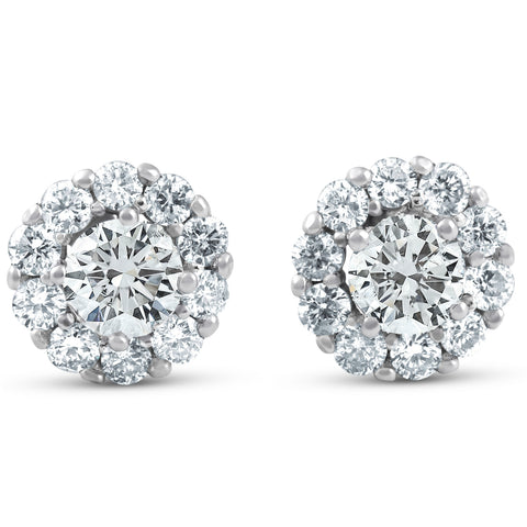 1ct Halo Round Diamond Studs 14k White Gold 7.3mm