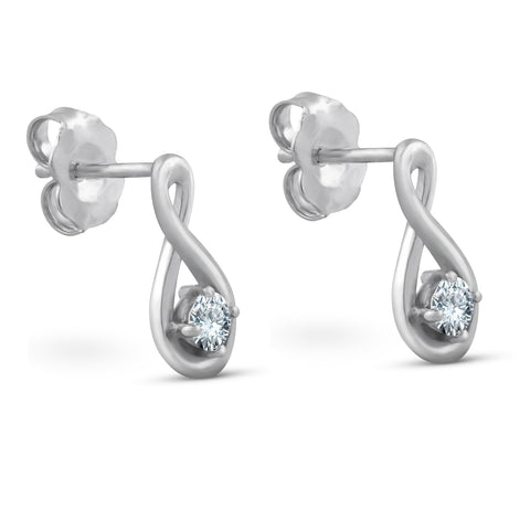 1/5ct Diamond Knot Studs Petite 14k White Gold