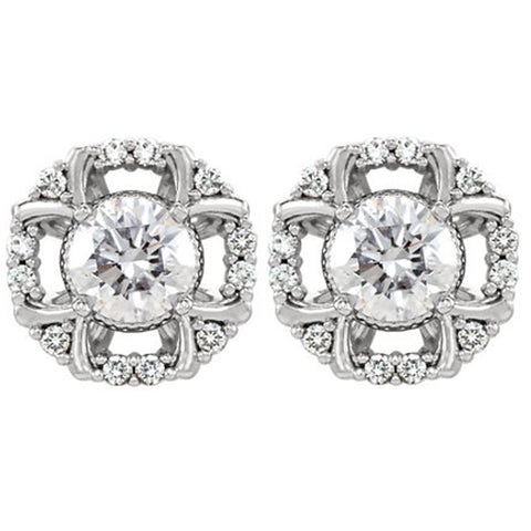 3/4ct Diamond Halo Studs 14k White Gold 8.7mm Wide